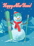Vector illustration winter sport. Snowman with ski outdoor Royalty Free Stock Photo