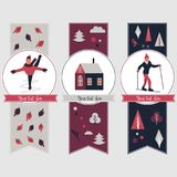 Winter sports banners with different characters royalty free illustration