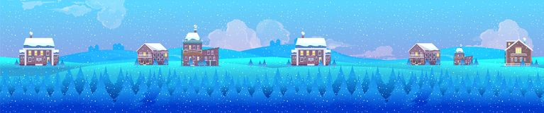 Vector illustration of a winter village landscape, horizontal background for your design Royalty Free Stock Image