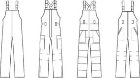 Work overalls set. Vector illustration of winter work overalls with braces Stock Photo