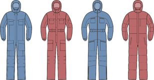 Overalls with hood. Vector illustration of winter work overalls with hood Royalty Free Stock Image