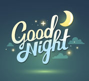Vector illustration of wish good night on dark green sky backgro Stock Photography