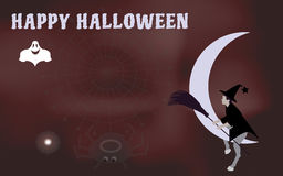 Vector illustration of a witch with a broom to ride on the moon come Halloween Stock Photo