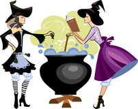 Witches preparing a potion, vector illustration of  two witch is cooking something poisonous in her cauldron, at Halloween night. Vector illustration of witches Royalty Free Stock Photo
