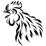 Vector Illustration With Black Rooster Silhouette Isolated On White. Crowing Cock. Stock Images