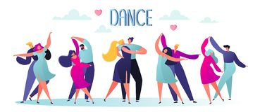 Free Vector Illustration With Flat Happy Dancing Couples People. Dancer Character Male And Female Isolated On White Background. Royalty Free Stock Images - 140063369