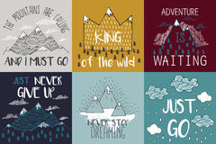 Free Vector Illustration With Mountain Peaks End Graphic Elements. The Mountains Are Calling And I Must Go. Stock Images - 63491884