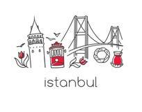Vector illustration witj Istanbul symbols tower, tram, bridge. Modern vector illustration Istanbul with hand drawn doodle turkish symbols: Bosphorus bridge, tea Royalty Free Stock Images