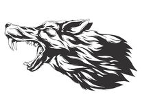 Vector illustration with wolf head. Angry wolf head. Monochromatic logo for your t-shirt Royalty Free Stock Image
