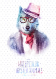 Vector illustration of wolf portrait in sunglasses Royalty Free Stock Photography