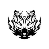 Tribal wolf tattoo Stock Image