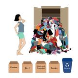 Vector Illustration with a a Woman and a Big Messy Pile of Useless, Old, Cheap, and Oumoded Cothes. Nothing to Wear, and. Vector Illustration with a a Thinking royalty free illustration