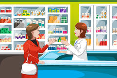 Buying medicine in pharmacy. A vector illustration of woman buying medicine in a pharmacy Stock Images