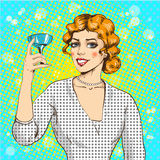 Vector illustration of woman with cocktail in pop art style vector illustration