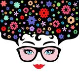 Vector illustration of a woman with colorful flowers. Vector illustration of a woman with colorful floral pattern on her hair Royalty Free Stock Images