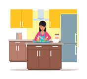 Vector illustration of woman cooking salad, slicing cucumber, flat design vector illustration