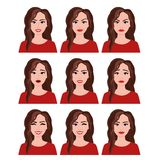 Vector illustration of woman with different facial expressions set. Emotions set on white background in flat style. stock illustration