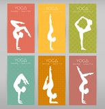Woman doing yoga asanas, flyers vector illustration