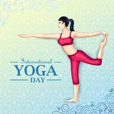 Illustration of woman doing yoga pose on poster design for celebrating International Yoga Day Royalty Free Stock Image