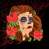 Vector illustration of woman face with Sugar skull or Calavera Catrina makeup on the black background with dotted red swirls. Royalty Free Stock Photos
