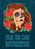 Vector illustration of woman face with Sugar skull or Calavera Catrina makeup on the turquoise background with outline roses. Stock Photo