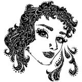 Vector illustration of woman face for tattoo Stock Images