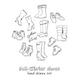 Vector illustration of woman fall and winter shoes, boots set. Hand-drown footwear illustrations. Royalty Free Stock Photos