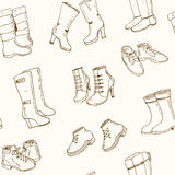 Vector illustration of woman fall and winter shoes, boots set. seamless pattern. Hand-drown footwear illustrations. Fashion collection sketch Royalty Free Stock Photos