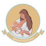 Vector illustration of woman feeding baby. Royalty Free Stock Photo