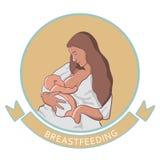 Vector illustration of woman feeding baby. Royalty Free Stock Photo