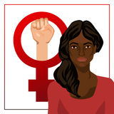 Vector illustration with woman and feminist sign Royalty Free Stock Image