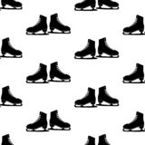 Vector illustration. Woman figure Skates icon isolated on white background. Seamless skates pattern royalty free illustration