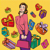 Vector illustration of woman and gift boxes, pop art style. Vector illustration of young woman and gift boxes around her, pop art style in retro pop art comic Stock Photography