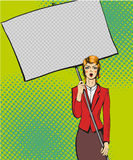 Vector illustration of woman holding blank white paper poster. Stock Images
