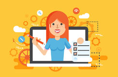 Vector illustration woman laptop notebook offers fill in application form design element education in flat style Stock Images