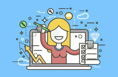 Vector illustration woman in laptop notebook offers fill in application form design element education, subscription Royalty Free Stock Photo