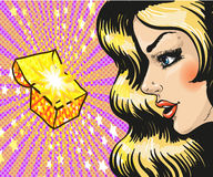 Vector illustration of woman looking at gift, pop art style Royalty Free Stock Photo