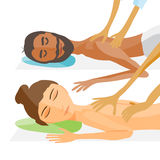 Vector illustration of woman and man pampering herself Royalty Free Stock Photo