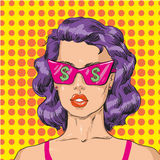 Vector Illustration of woman in pink sunglasses with dollar sign Royalty Free Stock Photo