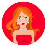 Vector illustration of woman in red dress Royalty Free Stock Photography