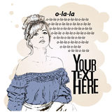 Vector illustration of a woman in a retro style Royalty Free Stock Photos