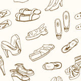 Vector illustration of woman shoes seamless pattern. . Spring-summer fashion collection. Royalty Free Stock Image
