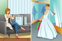 Woman Shopping Online and at Mall for Her Wedding Stock Photos