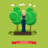 Vector illustration of woman singer in flat style stock illustration