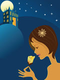 Girl smells a flower and palace at night. Vector illustration with Woman Smelling Rose and palace at night Stock Photo
