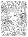 Vector illustration, woman surrounded by flowers. Black white. vector illustration