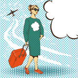 Vector illustration of woman with travelling case, pop art style Stock Photos