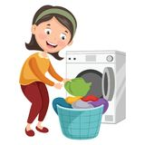 Vector Illustration Of Woman Washing Clothes. Eps 10 Stock Photos