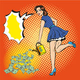 Vector illustration of woman watering money, pop art style. Vector illustration of rich and beautiful young woman watering paper money with watering can, speech Royalty Free Stock Photos