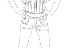 Vector illustration of woman wearing jeans shorts and corset Stock Photos